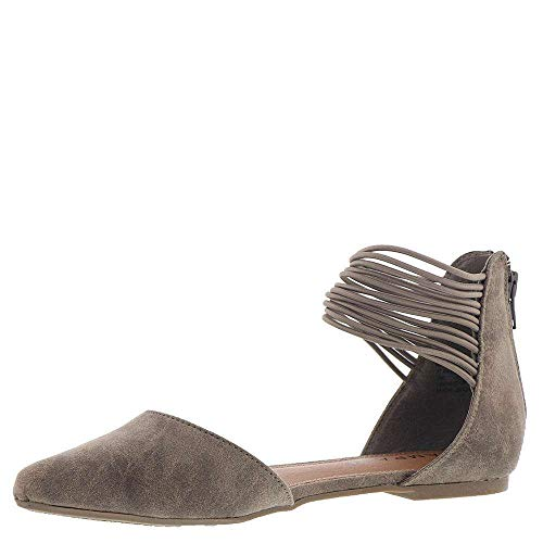Rampage Women's Pretty Pointed Toe D'Orsay Flat Ballet, Dark Taupe Distress 6.5 M ()