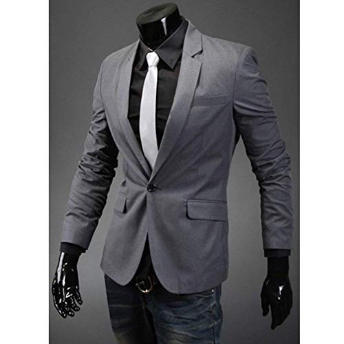 Stylish Uomo Sleeve Long Men Chic Leisure Fit Casual Slim Lapel Elegante Suit Business Blazer Giacca Rauchfarben qvw1qH