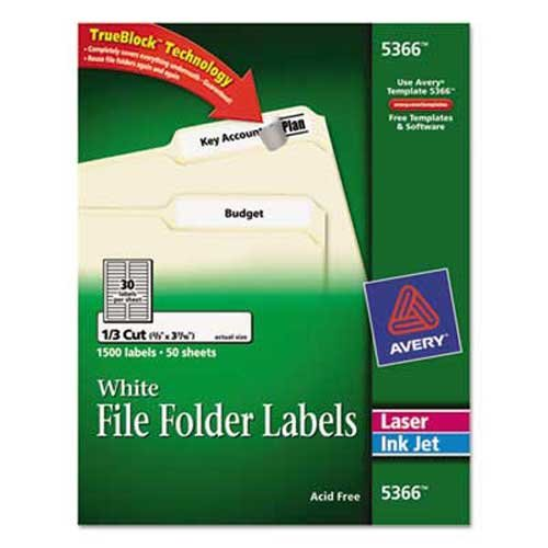 Avery Permanent File Folder Labels, TrueBlock, Laser/Inkjet, White, 1500/Box