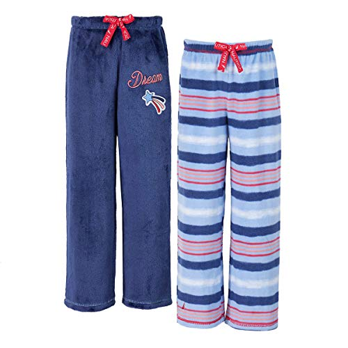 Nautica Girls Velvet Fleece Sleep Pajama Pants 2-Pack (Blue Stripes, ()