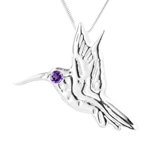 MB Michele Benjamin LLC Jewelry Design Sterling Silver Amethyst Hummingbird Pendant Necklace 18L