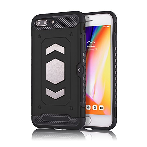 Phone 7 Plus case for iPhone Aladom Card Holder Protective Shockproof Cover with Metal Magnetic Car Cover Case for Apple iPhone 7 Plus,for iPhone 8 Plus Black
