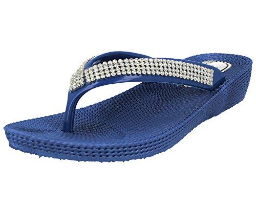 Sandales Ella Orteil S1 Marine 3 Compensé Dames Taille Bride Été Bleu Bas Plate Diamant Gelé Tongs 8 rwvr4q5SWI