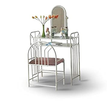 White Metal Make Up Vanity With Table Bench SetAmazon com White Metal Make  Up Vanity With Table Bench SetWhite Metal Vanity Set  Coaster White Metal Makeup Vanity Table  . White Metal Vanity Set. Home Design Ideas