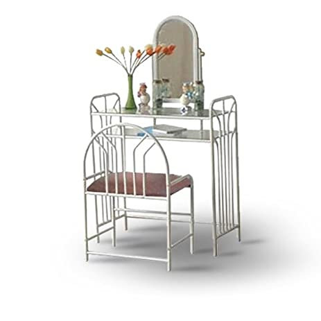 white metal vanity set. White Metal Make Up Vanity With Table  Bench Set Amazon com