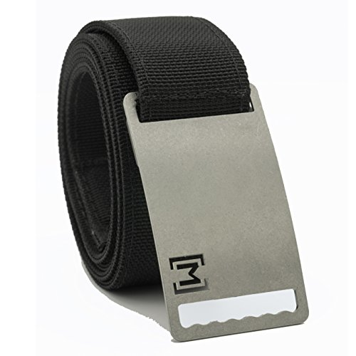 MagBelt - Magnetic Adjustable No Holes Belt with Buckle. Perfect fit. Minimalist Style. - Large Black Belt/ Stainless Steel Buckle