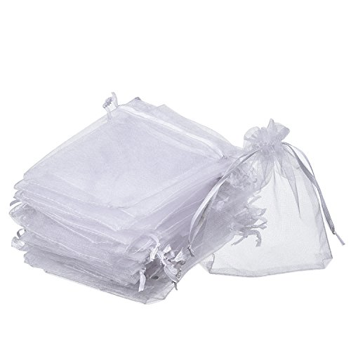 Mudder Organza Gift Bags White Wedding Party Favor Bags Jewelry Pouches Wrap (50 Pack, 4 x 4.72 Inches)