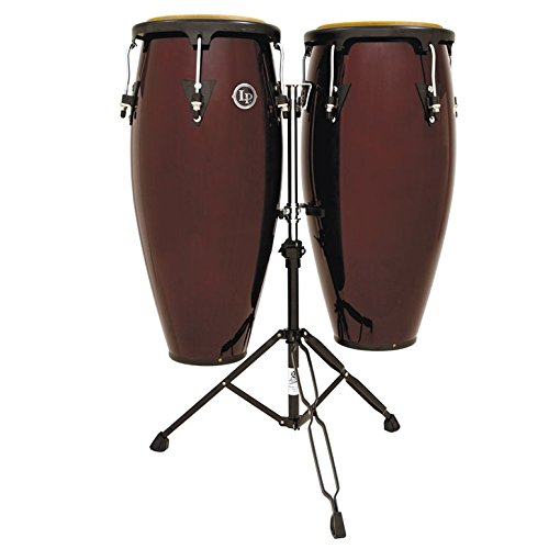 (LP Aspire Conga Set w/ Double Stand, Dark Wood)