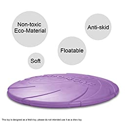 Dog Frisbee Fly Toy, Jakpak Soft Safety Flying Discs Toys for Dogs Pets Floatable Dog Toy Floppy Disc Durable Interactive Dog Fetch Frisbee Toy for Medium Large Dogs Lose Weight Sports 8.5 In Purple