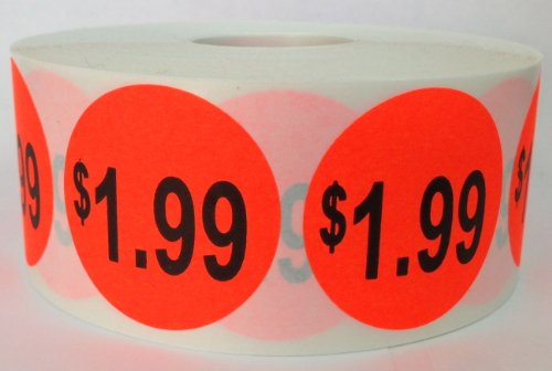 1 Roll of 1000 1.5 inch Round BRIGHT RED $1.99 Retail Price Point Labels Stickers