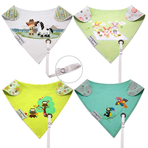Reversible Bandana Baby Drool Bibs w/Leash for Pacifier/Teether Girl Set Infant-Toddler