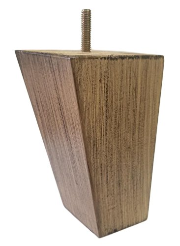 "Elegent Upholstery 6"" Slanted Solid Wood Light Weathered Oak Finish Furniture Sofa/Chair/Ottoman Tapered Legs [5/16"" Bolt] - Set of 4"