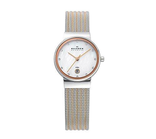 Skagen Women's Silver and Rose Striped Mesh Watch