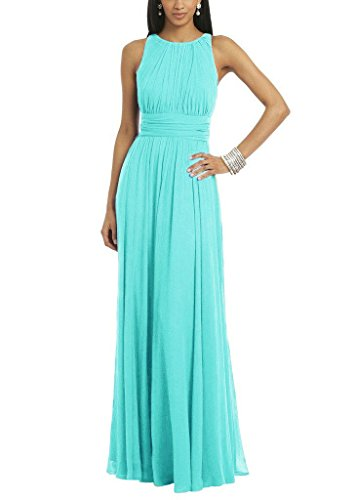 Women's Elegant Pleated Chiffon Long Bridesmaid Dress Evening Party Gown Ice Blue US6]()