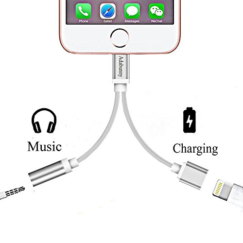 to 3.5mm Audio Adapter, ADABUNNY 2 in 1 Charger, to 3.5mm Aux Headphone Jack Adapter for iphone 7 / 7 plus (Silver) -  A00132IP7DCUSAB
