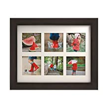 BorderTrends Cafe 11x14-Inch Collage Wall Frame for 4x4-Inch Photos, Espresso Brown with White Mat