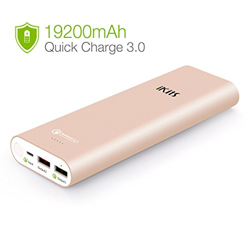 Quick Charge 3.0 iKits [Qualcomm Certified] 20000mAh Power Bank Large Capacity LG Battery Bidirectional QC3.0 Input:QC3.0, Output:2.4A+QC3.0 for Samsung LG Google Nexus iPhone/iPad & more Rose Gold