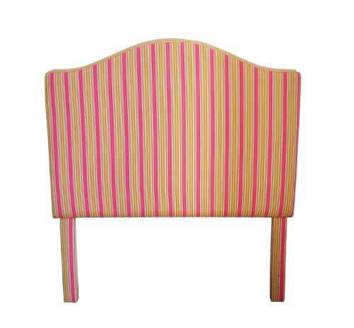 Arched Velvet Upholstered Headboard (HomePop Youth Upholstered Twin Arched Headboard, Pink and Yellow Stripes)