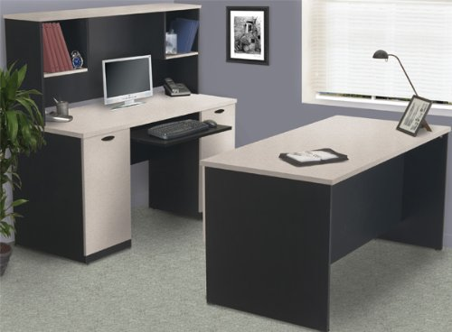 Bestar 69400-450 Computer Desk with Hutch Sand Granite Charcoal - Bestar Charcoal
