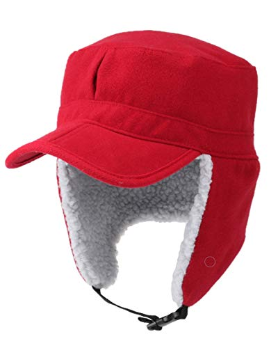 HunterBee Winter Trapper Hunting Hat with Visor Elmer Fudd Baseball Cap with Folded Faux Fur Ear Flap