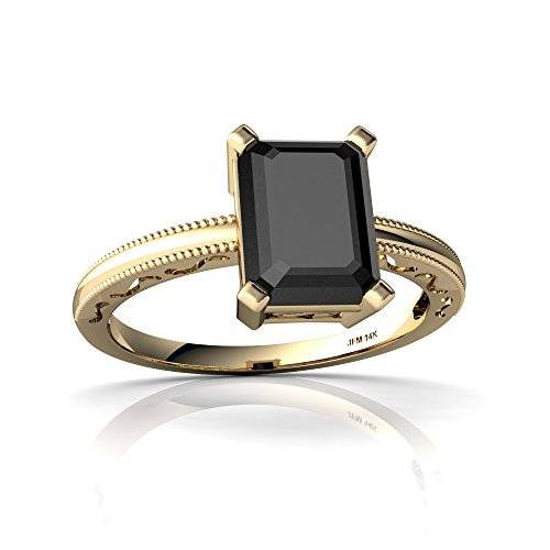 Emerald Ring 14kt Gold Jewelry (14kt Yellow Gold Black Onyx 8x6mm Emerald_Cut Milgrain Scroll Ring - Size 6)