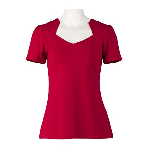 Red Vintage T-shirt (Vintage red tops sweetheart short sleeves pinup T-shirt for women)