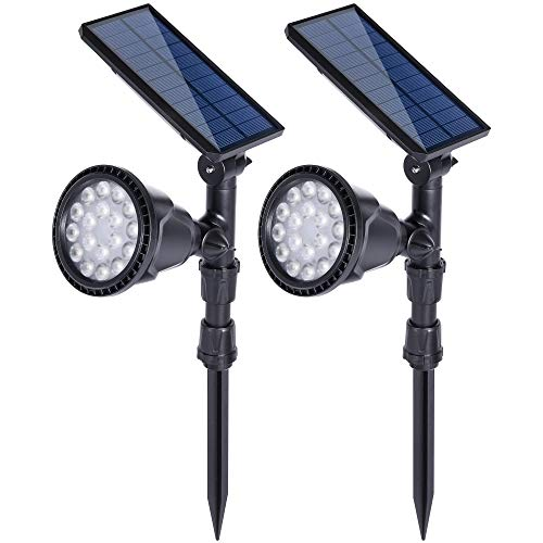 DS Lighting Outdoor Solar Spotlights, Super Bright 18 LED Security Light Waterproof Wall Lamps for Garden Landscape Patio Porch Deck Garage (Warm White, 2 Pack) For Sale