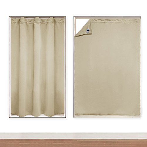 PONY DANCE Portable Travel Blackout Curtains Blinds Window Treatments Easy Install Shade Drapes with Suction Cups for Baby Nursery Roof Windows, 51'' W x 78'' L, 1 Pc, Beige by PONY DANCE