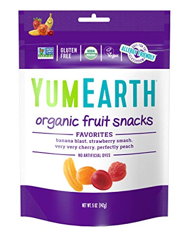 YumEarth Organic Vegan Fruit Snacks, 5 Ounce, 6 pack - Allergy Friendly, Non GMO, Gluten Free, Vegan (Packaging May Vary)
