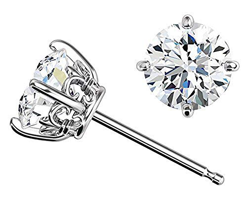 Solid 14k White Gold Fleur-de-lis Earrings made with Swarovski CZ (6mm, 1.5cttw, Diamond Equivalent) (Clear)