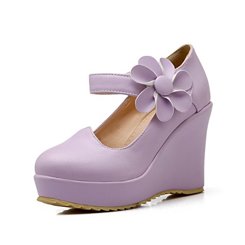 AmoonyFashion Womens Round Closed Toe Hook and Loop Pu Solid High Heels Pumps-Shoes Purple XdSr0A