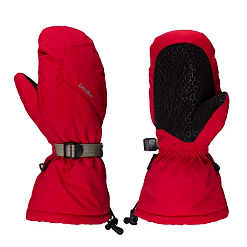 Goose Down Mittens - Long Goose down Motorcycle Mittens,Warm Winter Snowboard Gloves Ski Gloves Waterproof Windproof for Men & Women Red (L)