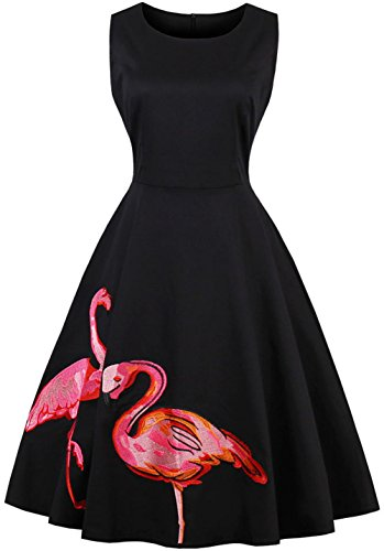 Joansam BoatNeck Sleeveless Vintage Tea Dress with Belt (X-Large, Black)