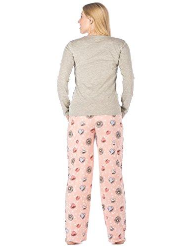 Conjunto Pijama con Pantalón Micro Polar para Mujer Joven - Varios Motivos Café - Gris