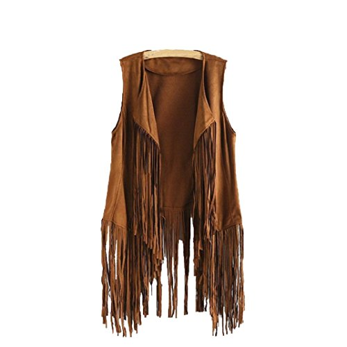 ShenPr Women Punk Faux Suede Ethnic Sleeveless Tassels Fringed Solid Vest Cardigan Coat (Khaki, L) Ladies Fringed Leather