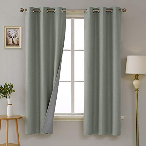 Deconovo 100 Percent Blackout Curtains with 3 Pass Noise Red