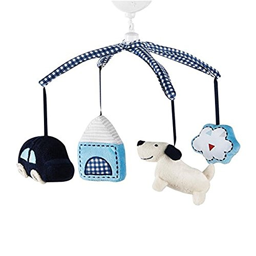 Rustic Crib Mobile Map Plush Brahams Lullaby Musical Easy to Assemble and Attach Fabric Man Made Materials This Adorable Features Sweet Puppy and Car It Plays a Gentle Lullaby to Soothe Your Baby