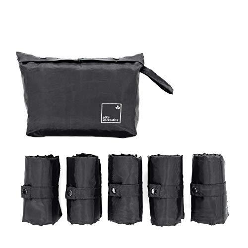P&P Alternative Unisex Reusable Grocery Tote Bags Set of 5 (Foldable, Heavy Duty, Ultralight) in Jet Black