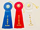 6 Pack of 11 inch Large Rosette Premium Award Ribbons with Event Card (1st Blue, 2nd Red, 3rd White)