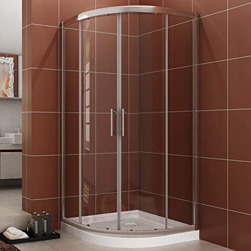 (SUNNY SHOWER Neo-Round Corner Shower Doors 1/4