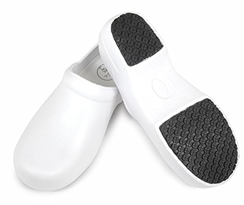 Woman's Clog Shoe with Memory Foam in Sole, Anti Slip Grip Sole Technology, Water and Stain Resistant. (7, White)