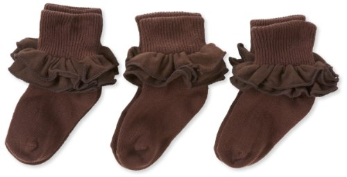 Jefferies Calcetines para niña, 2-6X Misty con volantes, 3Pares de Calcetines, Marrón Chocolate, Infantil