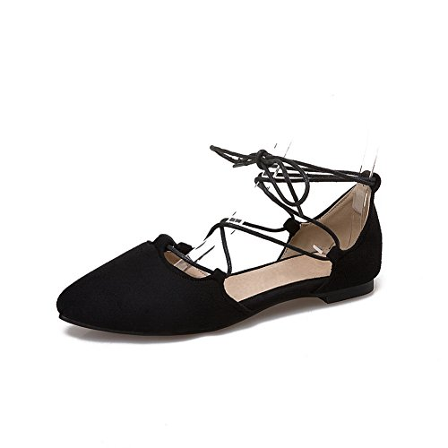 Black Square Suede Bandage Pointed 1TO9 Toe Womens Heels Flats MJS02728 Shoes HTnvw