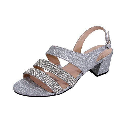 (Floral Dorothy Women Extra Wide Width Chic Rhinestone Straps Dressy Party Heeled Sandals Silver 9)