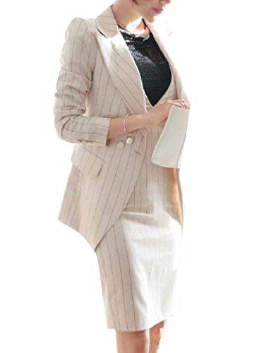 Zimaes-Women Slim Fit Pinstripe Blazer and Bodycon Dress Suit Sets White L