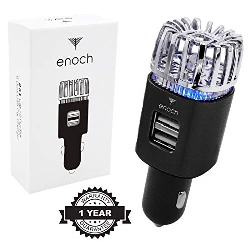 Enoch Car Air Purifier with USB Car Charger 2-Port. Car Air Freshener Eliminate Odor, Dust, Pollen, Removes Cigarette Smoke, Pet and Food Odor, Ionic Ozone, Relieve Allergy. Color-Black (Best Car Air Freshener For Smokers)