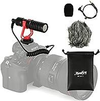 Moukey DSLR カメラマイク 外付けマイク モニターヘッドホン接続 ミニ三脚 IP4防水ケース付 単一指向性 コンデンサー型 3.5mm変換ケーブル スマートホン/ビデオ/Vlog/Canon/Nikon/Sonyカメラ接続