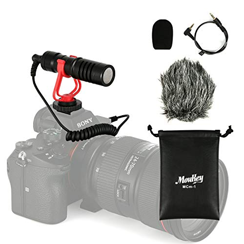 Moukey MCM-1 DSLR Camera Microphone, External Video Mic Shotgun for Phone, Smartphone, Vlogging, Canon/Nikon/Sony ()