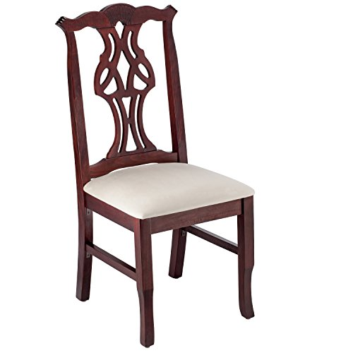 Wooden Side Chair - Fully Assembled Solid Beech Wood Chair in Dark Mahogany with Padded Cream Micro Suede Seat and Sturdy Backs for Kitchen, Home or Commercial - BSD-36SV-DM by Beechwood (Beechwood Fully Upholstered Chairs)