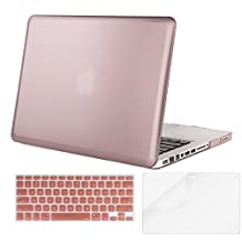Mosiso Plastic Hard Case with Keyboard Cover with Screen Protector for MacBook Pro 13 Inch with CD-ROM (Model: A1278), Rose Gold